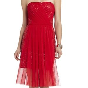 BCBGMAXAZRIA NWT Vienna Red Dress Sequin & Tulle